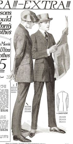 I am really loving the early 1920s at the moment.  I love the fit and the unique details.  The suit on the left has awesome thin turned up cuffs.