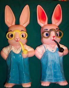 2 Vintage Hard Plastic Easter Rabbit Banks | Flickr - Photo Sharing!