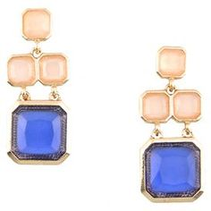 "Add a pop of style to evening ensembles and work outfits alike with these stunning gold-plated earrings, showcasing a geometric design and pink stones.  Product: Pair of earrings Construction Material: Gold-plated zinc alloy and resinColor: Pink, blue and goldFeatures: Hand-set stones   Dimensions: 0.75"" W x 2.5"" Drop each Cleaning and Care: Avoid all oils and chemicals (such as lotions, hairspray, makeup and perfumes). Put jewelry on last when getting ready. To clean, wipe with a soft, ..."