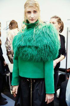 Charlotte Lindvig (Heartbreak) backstage at Marni Timeless Fashion, High Fashion, Winter Fashion, Green Fur, Tracksuit Tops, Big Knits, Fashion Articles, Marni, Ready To Wear