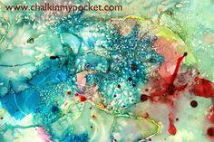 Elmers Blue School Gel + Liquid Colors + Salt = One Amazing Piece of Art  1.  Elmer's blue gel glue on watercolor paper; dry   2.  Paint with liquid watercolors   3.  sprinkle with salt