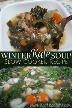 Winter Kale Soup Slow Cooker Recipe http://hearthookhome.com/winter-kale-soup-slow-cooker-recipe/