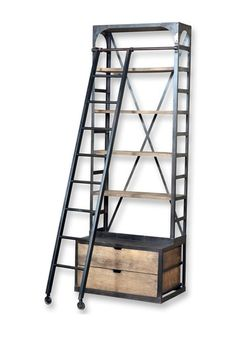 Single Hutch Style Bookcase with Ladder by Modern Vintage Style Furniture on @HauteLook