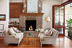 Fireplace mantel designs diy old fireplace mantels dogtrot hallway mantel ideas Red Brick Fireplaces, Living Room With Fireplace, Fireplace Design, Fireplace Mantels, Fireplace Ideas, Fireplace Seating, Mantel Ideas, Farmhouse Fireplace, Living Room Modern