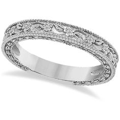 Allurez Carved Floral Designed Wedding Band Anniversary Ring in 14K... (13 065 UAH) ❤ liked on Polyvore featuring jewelry, rings, white gold, floral wedding ring, 14k ring, flower rings, white gold stackable rings and flower band ring