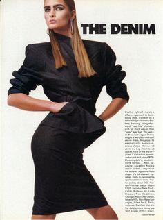The Denim Edge  Photo Steven Meisel  Model Carine Holties & Vanessa Duve  US VOGUE April 1986