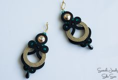 Black and gold soutache earrings with Swarovski Soutache Earrings, Blue Earrings, Drop Earrings, Shibori, Diy And Crafts, Arts And Crafts, Kanzashi, Diy Rings, Ring Necklace