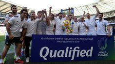 England's Rugby sevens team celebrates after qualifying Team GB for the 2016 Rio Olympics