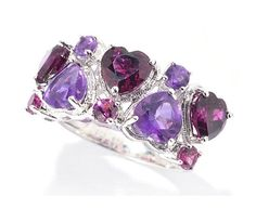 S O L DNYC II™4 24ctw Alternating African Amethyst Rhodolite Heart Band Ring Sz 8 | eBay