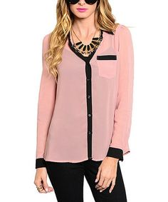 Look what I found on #zulily! Pink & Black Sheer Button-Up Top by  #zulilyfinds