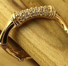 18K Gold Filled 1/8 ct AAA Zircon Encrusted Hexagonal Band Ring