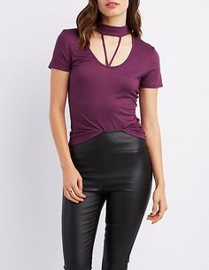 Caged Mock Neck Tee | Charlotte Russe