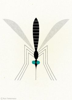 Mosquito - illustration by Ryo Takemasa. Illustration Design Graphique, Graphic Illustration, Digital Illustration, Ryo Takemasa, Impression Textile, Silkscreen, Gravure Illustration, Bug Art, Art Lessons For Kids