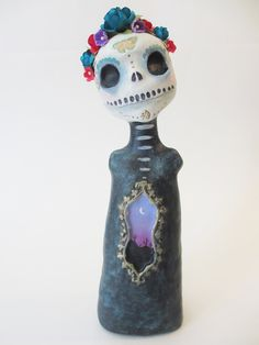 desert dreams.... day of the dead skelly art doll . one of a kind. altar. day of the dead art by amber leilani