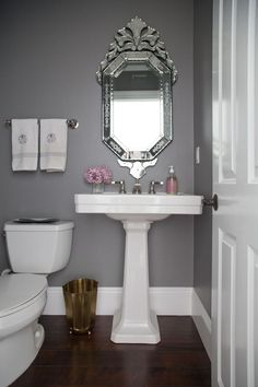 You've come to the right spot if you are looking for inspirational powder room lighting ideas or half bath designs. A powder room is a welcome feature to any home. Powder Room Paint, Powder Room Decor, Powder Room Design, Grey Bathroom Paint, Small Bathroom Colors, Grey Bathrooms, Gray Paint, Bathroom Small, Country Bathrooms