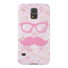 Funny Glasses Pink Polka Dots Mustache Chevron Galaxy S5 Covers