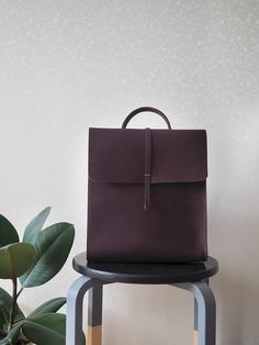 Leather backpack for women. Minimalist bag. Handmade genuine leather rucksack. Dark brown color. by INSIDEgift on Etsy https://www.etsy.com/hk-en/listing/233373322/leather-backpack-for-women-minimalist
