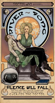 Illustration Art Nouveau (Alphonse Mucha) inspired, with pose from Michelangelo's Pietà, starring the Eleventh Doctor and River Song from the British series Doctor Who, inked by hand and digitally.