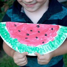 """Watermelon Slices: Preschoolers will have great fun making these """"watermelon slices"""" from paper plates. This is a great project to do with kids for a Letter W theme, or on National Watermelon Day."""