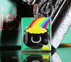 Irish Pot of Gold sticker mounted on a scrabble tile makes for a gorgeous Irish pendant!