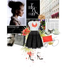 Black skirt, white tee and coral beaded necklace, created by anulartdesigne on Polyvore