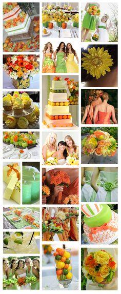 Citrus themed wedding. I really like the green dresses!