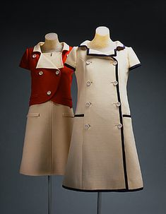 Vintage Fashion Coatdress André Courrèges (French, born Date: 1965 Culture: French Medium: wool, silk Dimensions: Length at CB: 38 in. Sixties Fashion, Mod Fashion, Fashion Mode, French Fashion, Vintage Fashion, Sporty Fashion, Vintage Outfits, 1960s Outfits, Vintage Dresses