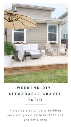 Our new-build rental home came with a bare backyard and no usable patio space. We didn't want to invest much into a home that wasn't ours, but knew we'd want to enjoy it during our time here. We came up with this easy, affordable DIY gravel patio solution Patio Diy, Backyard Patio, Backyard Landscaping, Landscaping Ideas, Backyard Ideas, Porch Ideas, Inexpensive Patio Ideas, Diy Deck, Modern Landscaping