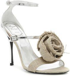 Roger Vivier Rose Effiloche Sin Sandals In Corda/argentobeige Rope Sandals, Shoes Sandals, Beige Style, Roger Vivier, Rose, Stiletto Heels, Kitten Heels, Real Leather, Leather Shoes