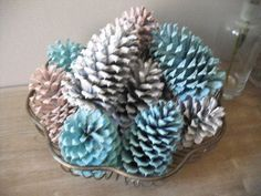 Pine Cone Crafts Decorations | rustic Painted Pine cones table decoration by ... | Pine cone crafts