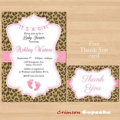 Items Similar To Printable Pink Leopard Baby Shower Invitation Its A Free Thank You Card On Etsy