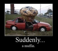 As long as I wasn't in the car I don't think I would mind a huge muffin falling from the sky :)