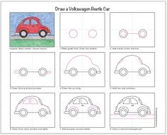 Draw a VW Beetle Car (Art Projects for Kids)