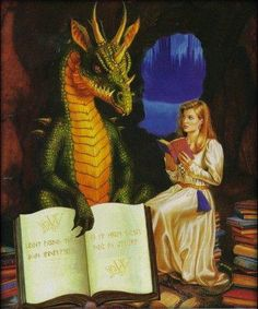 dragon reading by oddlibrarian, via Flickr