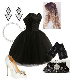 """""""Black & White Ball #2"""" by briony-jae ❤ liked on Polyvore featuring Elise Dray, Badgley Mischka and Metropark"""