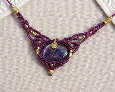Macrame NeckWabiSabiMacrameArt, etsy.lace macrame AMETHYST fairy necklace goddess