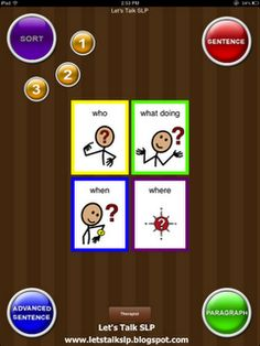 """QuestionIt is an ipad app that is designed to teach students how to answer WH-questions. This application was primarily designed to use with children diagnosed with autism but also good for language delays. Scroll down to see """"Language Empire"""" Speech Language Pathology, Speech And Language, Language Arts, Language Development, Teaching Strategies, Teaching Tools, Teaching Ideas, Wh Questions, This Or That Questions"""