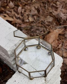Vintage Octagonal Glass Curio Box / Glass Curio by theretrobeehive