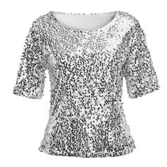 Polo Shirt Women Sequins Sparkle Coctail Party Casual Top Crop Tops Shirt Slim Shirt Stage Costume Size S Color Silver Casual T Shirts, Casual Tops, Crop Top Shirts, Crop Tops, Top Jean, Sparkle Shorts, Blouses For Women, T Shirts For Women, Plus Size Patterns