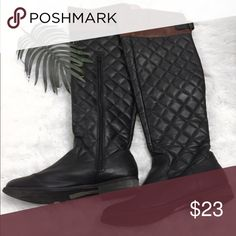 F21 Knee Length Boots Brown & black boots that comes over the knee . Forever 21 Shoes Over the Knee Boots
