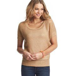 Open Stitch Wedge Short Sleeve Sweater - Cocoa Parfait