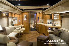 Allstar Coaches Redefines Luxury RV Travel - Recreational vehicle rentals continue to grow in popularity Rv Interior, Interior Design, Luxury Interior, Luxury Campers, Luxury Motorhomes, Motorhome Rentals, Rv Rental, Rv Homes, Motor Homes