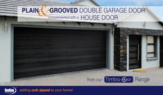 A plain Horizontal but not really! This meranti Horizontal Plain & Grooved Style Double garage door . Contemporary Garage Doors, Contemporary Style, Garage Door Manufacturers, Double Garage Door, Sectional Garage Doors, Oak Hardwood Flooring, Pivot Doors, House Doors, Curb Appeal
