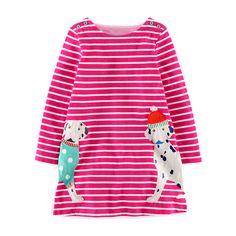 NOVA FASION! autumn/spring clothing girl child dress red stripe with long sleeves Dalmatin design kids girls children dress for children