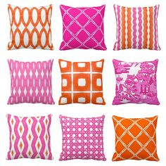 pink and orange throw pillows at zazzle.com/thepinkpagoda*