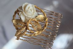 Vintage Bridal Ivory Rose Haircomb Wedding by ButterflyEffectInc, $45.00