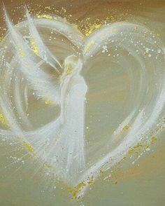 Angel in a heart with golden glitter, prophetic art painting.