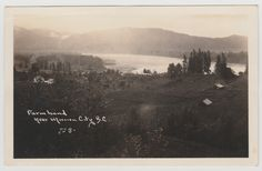 MISSION CITY, BC - Photo postcard of farmland, homes and Fraser River at Mission City c.1924-1949. Fraser River, Fraser Valley, City C, Photo Postcards, Vancouver, Homes, Movie Posters, Houses, Film Poster