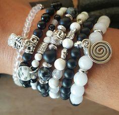 Ensemble sept bracelets pierres gemmes noir et blanc : Bracelet par vel