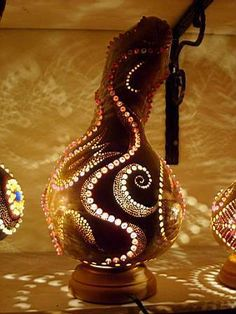 Free Gourd Painting Patterns | DIY Gourd Lamp - Naturally Artistic Lighting » Curbly | DIY Design ...